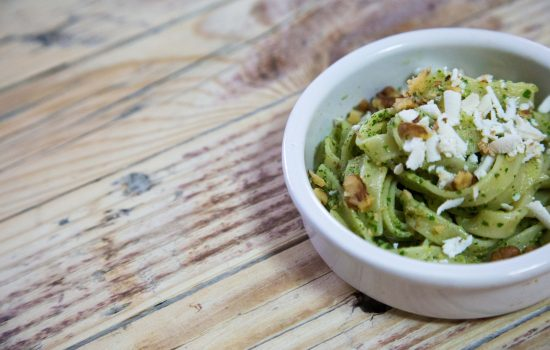 VEG: TAGLIOLINI PASTA IN ROCKET SALAD PESTO SAUCE, SMOKED RICOTTA AND WALNUTS