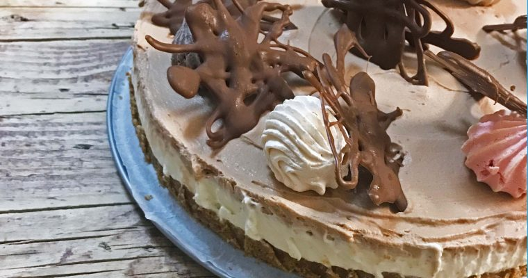 NO BAKE AND GELATIN-FREE LAYERED CHOCOLATE CHEESECAKE