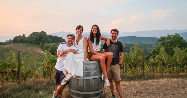 Autumn walk through the vineyards in Savorgnano del Torre